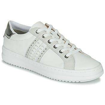 Sapatos Mulher Sapatilhas Geox D PONTOISE Branco / Prata