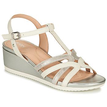 Sapatos Mulher Sandálias Geox D ISCHIA Branco / Prata