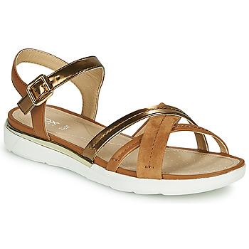Sapatos Mulher Sandálias Geox D SANDAL HIVER Ouro / Castanho