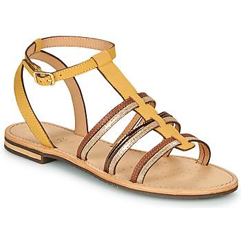 Sapatos Mulher Sandálias Geox D SOZY Amarelo / Castanho / Ouro