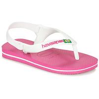 Sapatos Rapariga Chinelos Havaianas BABY BRASIL LOGO II Rosa / Branco