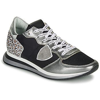 Sapatos Mulher Sapatilhas Philippe Model TROPEZ X Preto / Prateado