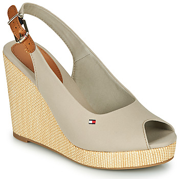 Sapatos Mulher Sandálias Tommy Hilfiger ICONIC ELENA SLING BACK WEDGE Cinzento