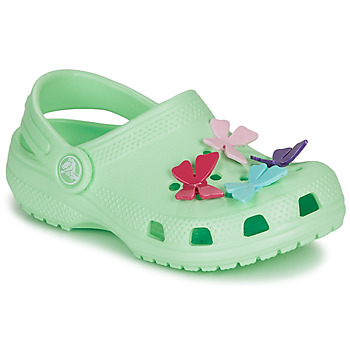 Sapatos Rapariga Tamancos Crocs CLASSIC BUTTERFLY CHARM CLG PS Verde / Claro
