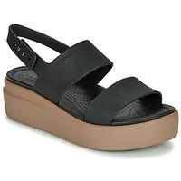 Sapatos Mulher Sandálias Crocs CROCS BROOKLYN LOW WEDGE W Preto / Camel
