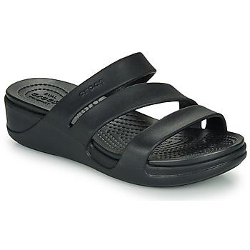 Sapatos Mulher Chinelos Crocs CROCS MONTEREY WEDGE W Preto
