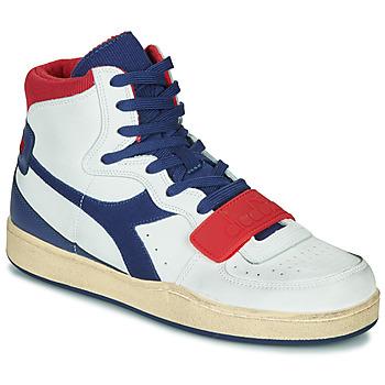 Sapatos Homem Sapatilhas de cano-alto Diadora MI BASKET USED Branco / Azul / Vermelho
