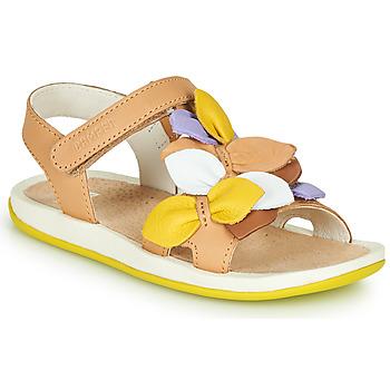 Sapatos Rapariga Sandálias Camper TWINS Castanho / Amarelo