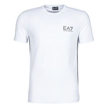 Textil Homem T-Shirt mangas curtas Emporio Armani EA7 TRAIN LOGO SERIES M TAPE TEE ST Branco