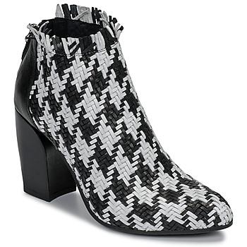 Sapatos Mulher Botas baixas Mimmu JESTINE Preto / Branco