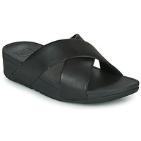 Sapatos Mulher Chinelos FitFlop LULU CROSS SLIDE SANDALS - LEATHER Preto