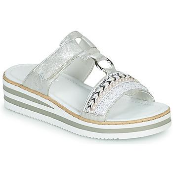 Sapatos Mulher Chinelos Rieker CLOZ Prata / Branco