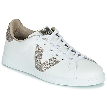 Sapatos Mulher Sapatilhas Victoria TENIS PIEL GLITTER Branco / Rosa