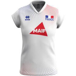 Textil Mulher T-Shirt mangas curtas Errea Maillot femme extérieur Equipe de france 2020 blanc