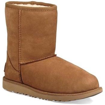 Sapatos Rapariga Botas de neve UGG K CLASSIS SHORT II WP castanho