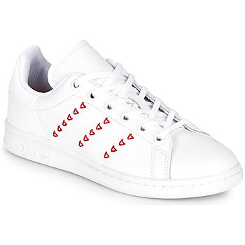 Sapatos Rapariga Sapatilhas adidas Originals STAN SMITH J Branco / Vermelho