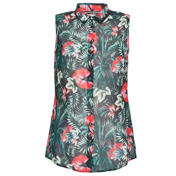 Textil Mulher Tops / Blusas Guess SL CLOUIS SHIRT Preto / Verde / Vermelho