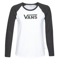 Textil Mulher T-shirt mangas compridas Vans FLYING V LS RAGLAN Branco / Preto