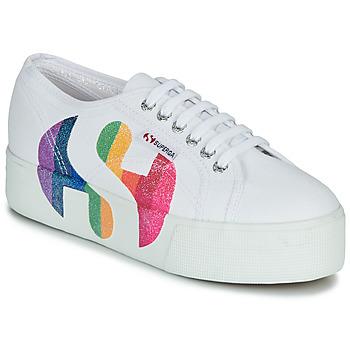 Sapatos Mulher Sapatilhas Superga 2790-COTWPRINTEDLOGOGLITTER Branco