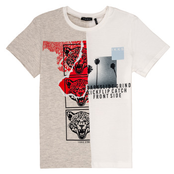 Textil Rapaz T-Shirt mangas curtas Ikks RULIO Bege / Branco