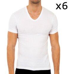 Roupa de interior Homem Camisolas de interior Abanderado Pack-6 camisetas manga corta Branco