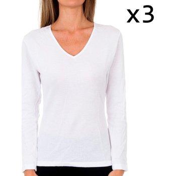 Roupa de interior Mulher Camisolas de interior Abanderado Pack 3 camiseta liberty m/l blanco Branco