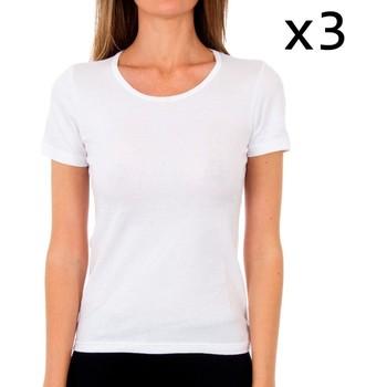 Roupa de interior Mulher Camisolas de interior Abanderado Pack-3 camiseta sra m/c algodón Branco