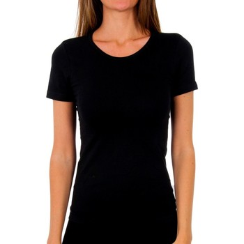 Roupa de interior Mulher Camisolas de interior Abanderado Pack-3 camiseta sra m/c algodón Preto