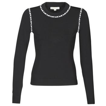 Textil Mulher camisolas MICHAEL Michael Kors MK TRIM LS CREW Preto
