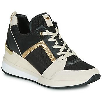 Sapatos Mulher Sapatilhas MICHAEL Michael Kors GEORGIE Preto / Bege / Ouro
