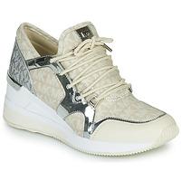 Sapatos Mulher Sapatilhas MICHAEL Michael Kors LIV TRAINER Bege / Prateado