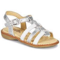 Sapatos Rapariga Sandálias Citrouille et Compagnie GROUFLA Prata / Branco