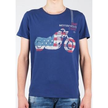 Textil Homem T-Shirt mangas curtas Wrangler S/S Biker Flag Tee W7A53FK 1F granatowy