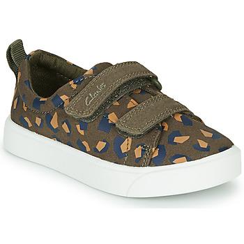 Sapatos Rapariga Sapatilhas Clarks CITY BRIGHT T Cáqui