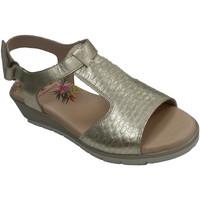 Sapatos Mulher Sandálias Pepe Menargues Sandália de velcro de mulher com pá grav oro