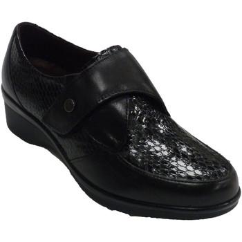 Sapatos Mulher Mocassins Pitillos Sapatos femininos descansam pele e couro negro