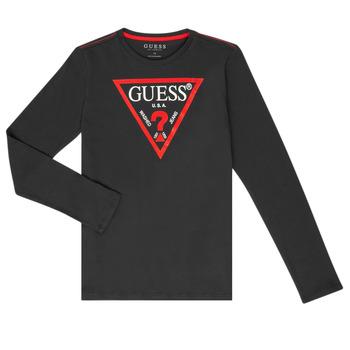 Textil Rapaz T-shirt mangas compridas Guess HERVE Preto