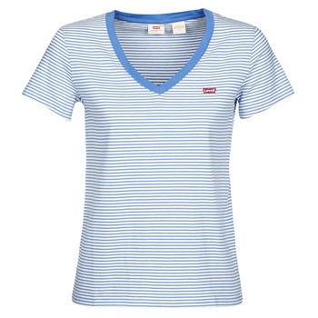 Textil Mulher T-Shirt mangas curtas Levi's PERFECT VNECK Branco / Azul