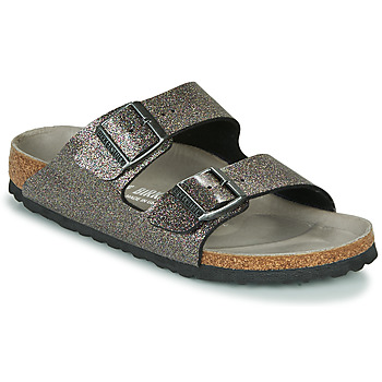 Sapatos Mulher Chinelos Birkenstock ARIZONA Preto / Prateado