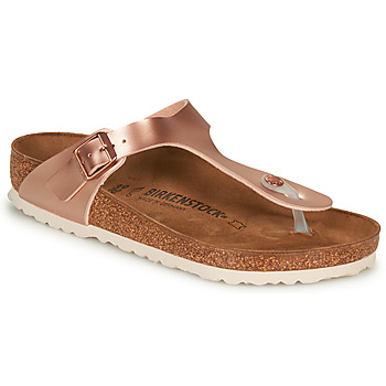 Sapatos Mulher Chinelos Birkenstock GIZEH Rosa / Ouro