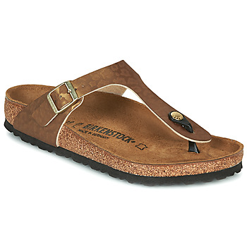 Sapatos Mulher Chinelos Birkenstock GIZEH Ouro / Leopardo