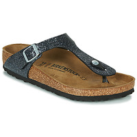 Sapatos Mulher Chinelos Birkenstock GIZEH Preto / Prateado