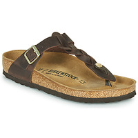 Sapatos Mulher Chinelos Birkenstock GIZEH  LEATHER Castanho