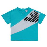 Textil Rapaz T-Shirt mangas curtas Emporio Armani Alois Azul / Branco