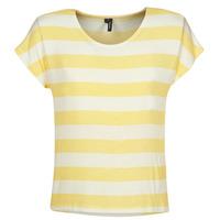 Textil Mulher T-Shirt mangas curtas Vero Moda  Amarelo / Branco