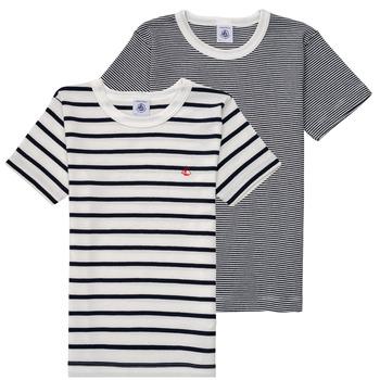 Textil Rapaz T-Shirt mangas curtas Petit Bateau 53333 Branco / Azul
