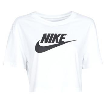 Textil Mulher T-Shirt mangas curtas Nike W NSW TEE ESSNTL CRP ICN FTR Branco / Preto