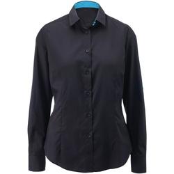 Textil Mulher camisas Alexandra AX060 Preto/ Peacock
