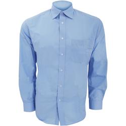Textil Homem Camisas mangas comprida Kustom Kit KK104 Azul claro