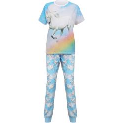 Textil Mulher Pijamas / Camisas de dormir Christmas Shop Unicorn Unicórnio Azul Claro